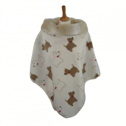 Cream Dog Motif Fleece Cape